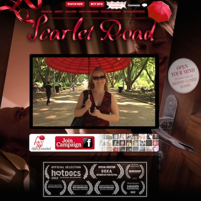 Screenshot of Scarlet Road website with trailer