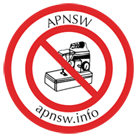 APNSW logo: a sewing machine surrounded by two red circles and 'no entry' stripe across the inner ring. APNSW and apnsw.info are written between the two rings.