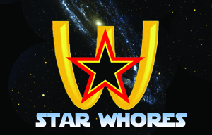 """star whores"" presented in the font and style of the Star Wars logo"