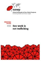 "thumbnail image of front page of briefing paper titled ""Sex work is not trafficking"""