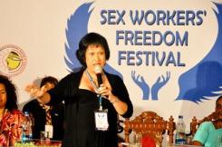 Kartini speaking sex workers' freedom festival