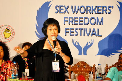 Kartini speaking sex workers' freedom festival