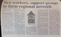"""Picture of newspaper headline reading """"Sex workers, support groups to form regional network"""""""