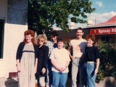 Julie Bates and friends outside the Australian Capital Territory's AIDS Action Council in 1988
