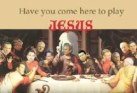 "A parody of the famous painting ""The Last Supper"" with George W Bush and other politicians faces pasted into the picture in place of Jesus and his disciples"