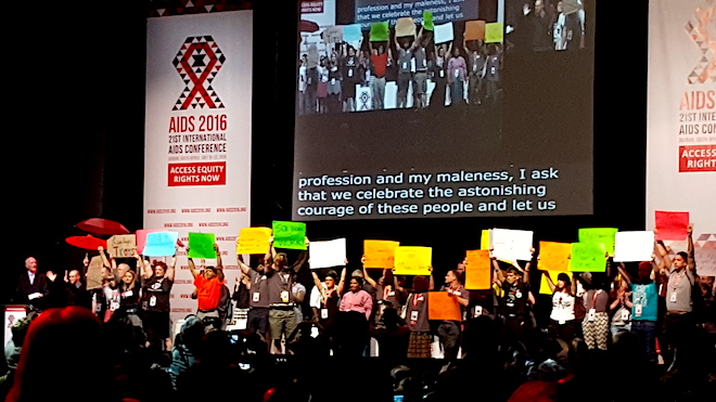 Sex workers and other key population groups join Judge Cameron on stage at IAC 2016