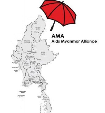 Map of Myanmar with a red umbrella at the top.