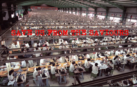 Photo of a large warehouse around 1000 women working on sewing machies