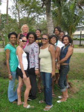 Outdoor group photo of Fijian sex workers including SAN's first two peer-coordinators