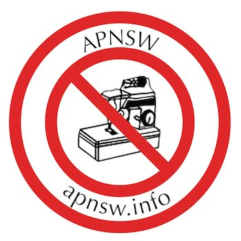 apnsw logo - sewing machine with a red 'no entry' sign over it, with website link apnsw.info