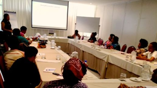 training room in a hotel with rectangle shaped table, projector and facilitator at the far end, a dozen participants are sitting round the tables