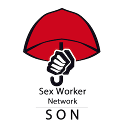"red umbrella with a clenched fist above the words ""Sex Worker Network SON"""
