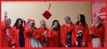graduates of scarlet alliance education program in red robes throw red hats