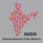 "map of india made up of red umbrellas, with NNSW and ""National Network of Sex Workers"" below"