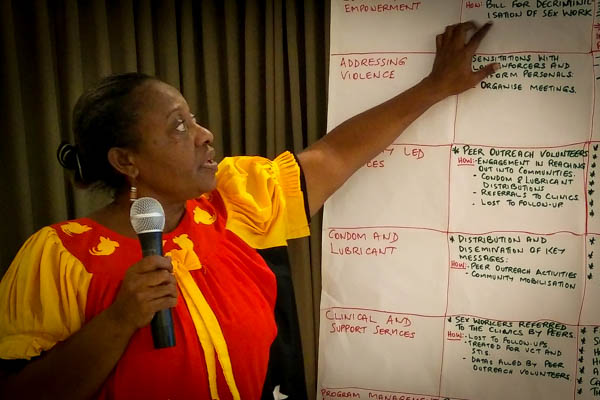 Participant from PNG points out responses on a flipchart for each thematic area of SWIT.