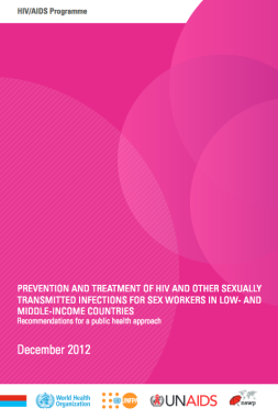 "front cover of the ""2012 guidelines"" - pink colour with logos of WHO, UNFPA, UNAIDS, and NSWP. Full title of the book is ""Prevention and treatment of HIV and other sexually transmitted infections for sex workers in low- and middle-income countries. Recommendations for a public health approach."""